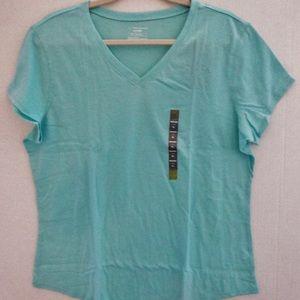 New Tek Gear T-Shirt Sz XL Cotton Blend Tags Aqua
